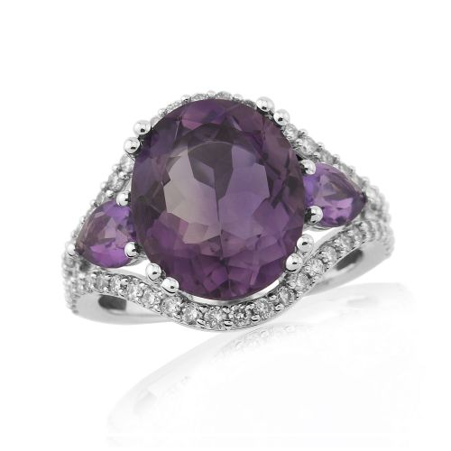 Fancy Amethyst And Diamond White Gold Cluster Ring